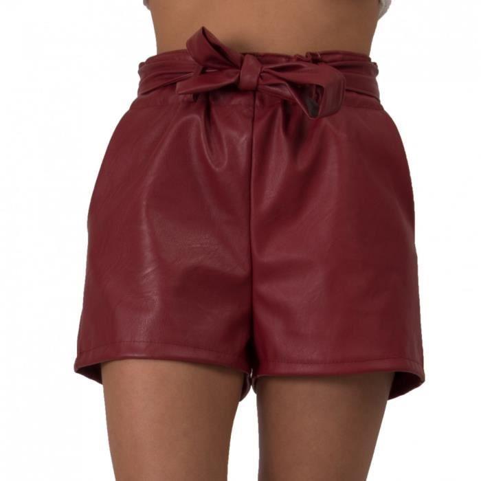 05218bd9fa35d7 Short femme simili cuir effet sky avec ceinture noeud & taille ...