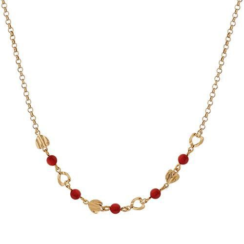 collier or perle rouge