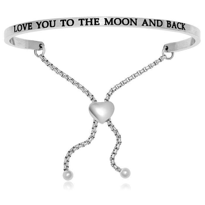 Womens Stainless Steel Love You To The Moon And Back Adjustable Bracelet IFTLN