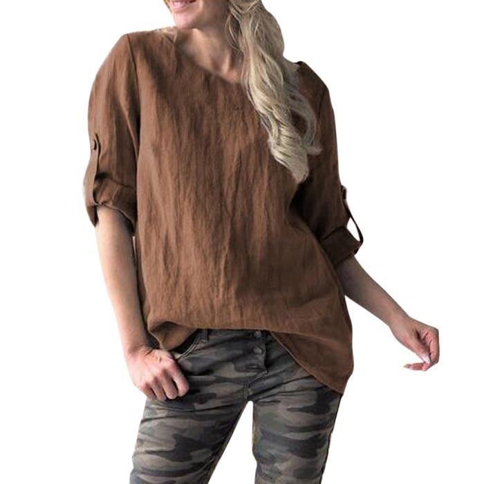 Desserrées Casual Womens T O cou Solide shirts Manches Haut Moyen 1208 Chemisier Vintage FxwBxY