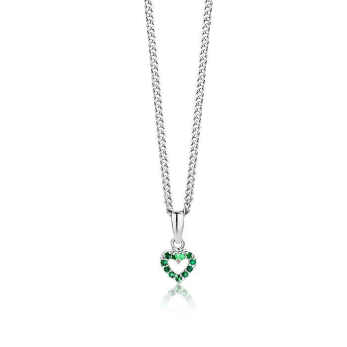 925 Petit Coeur émeraude pendentif en argent sterling de 45 cm Chaînette Z8P0R