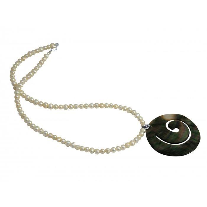 Gemshine - Femmes - Collier - pendentif - médaillon - argent 925 - - Perle Mère - Gris - 5 cm