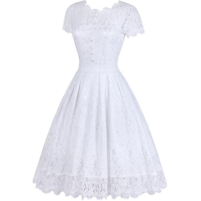 Femmes Retro Floral Lace mancherons Vintage Robe trapèze de demoiselle dhonneur 2CARI8 Taille-36