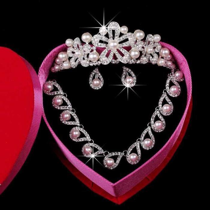 jeune mariée Mariage Ensemble de bijoux - Collier boucles doreilles coiffure Couronne 114