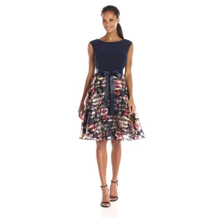 S.l. Fashions Robe en maille Top imprimé Parti organza des femmes