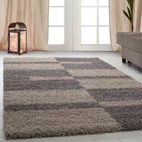 tapis Shaggy Shaggy gris rayé vert rouge tapis beige de salon [taupe, 160x230 cm]