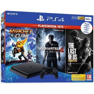 CONSOLE PS4 Pack PS4 500 Go Noire + 3 Jeux PlayStation Hits :
