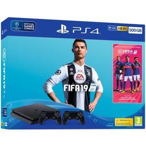 CONSOLE PS4 Pack PS4 500 Go Noire + FIFA 19 + 2ème manette Dua