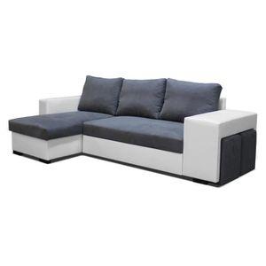 canape angle avec 2 poufs convertible en lit achat vente ensemble canapes cdiscount. Black Bedroom Furniture Sets. Home Design Ideas