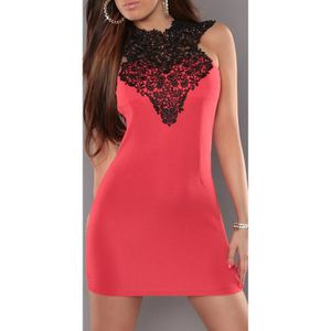 0d9562bebf858 Robe sexy rouge haut noir dentelle soirée femme courte moulante ...