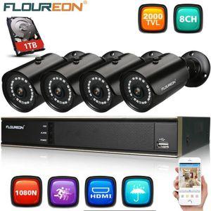 CAMÉRA DE SURVEILLANCE FLOUREON Kit de Caméra de Surveillance 1x 8CH 1080