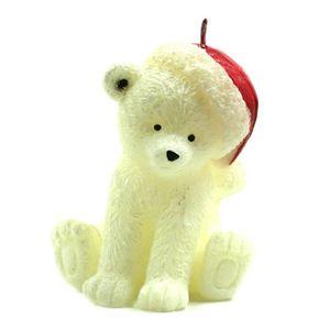BOUGIE DÉCORATIVE Bougie de Noël - Ours Blanc avec Bonnet Rouge