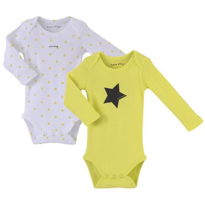 Lot de 2 bodies bébé Mixte SUCRE D'ORGE - manches longues Anis et Blanc