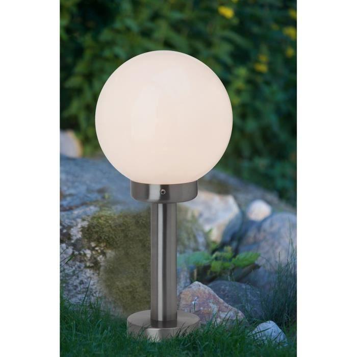 En acier spécial et plastique - Culot : E27 - Puissance : 60W - Coloris : acier.LAMPADAIRE DE JARDIN - LAMPE DE JARDIN