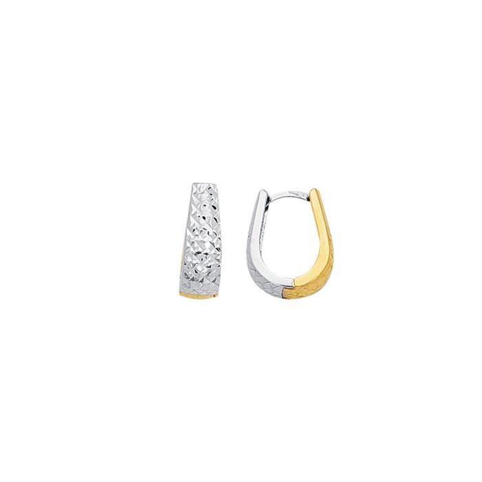 14 carats-Bicolore-Boucles doreilles