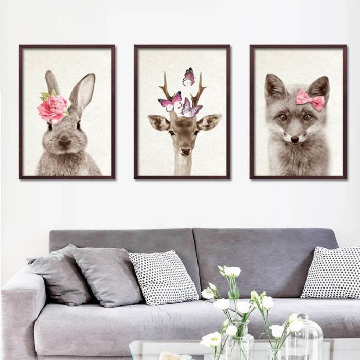 Animaux mignons et fleurs lapin chat chambre peinture d corative sans cadre pour les enfants - Cadre pour chambre enfant ...