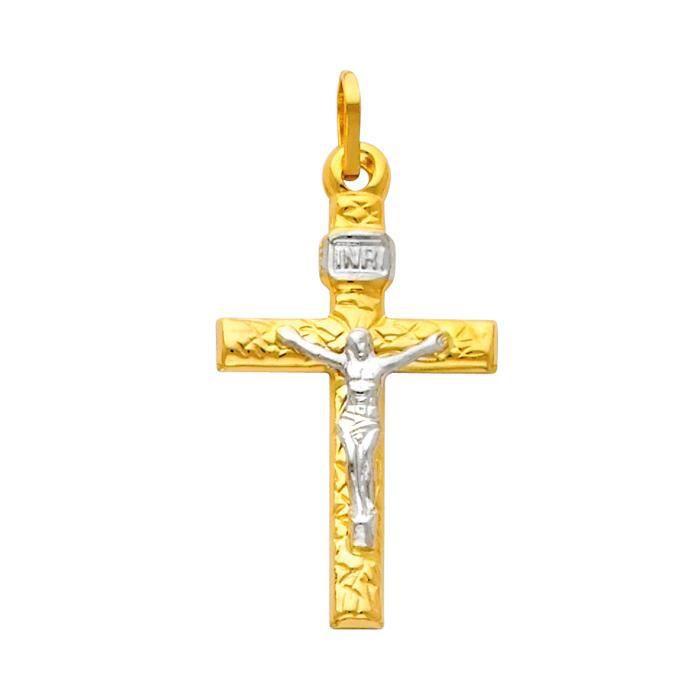 Pendentif14 ct Or 585/1000 AVEC tonnes Deux Blissful Crucifix suspendus