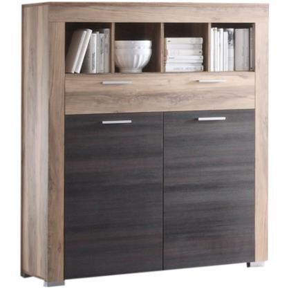 meuble de rangement coloris chêne noyer et brun foncé pour salon ... - Meuble De Rangement Salle A Manger