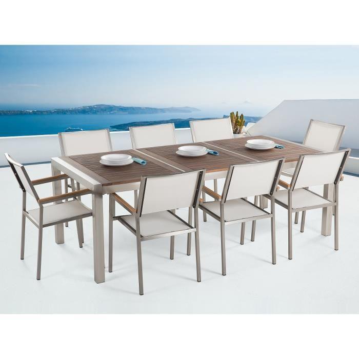Table de jardin acier inox - plateau bois 220 cm - 8 chaises en ...