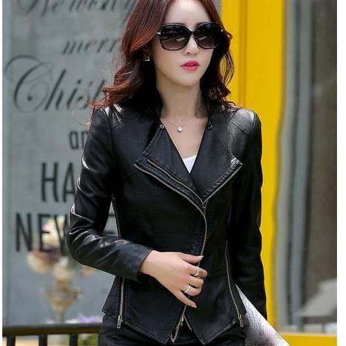 53ccba12872 Manteau d hiver de vêtements en cuir slim veste en cuir pour femmes ...
