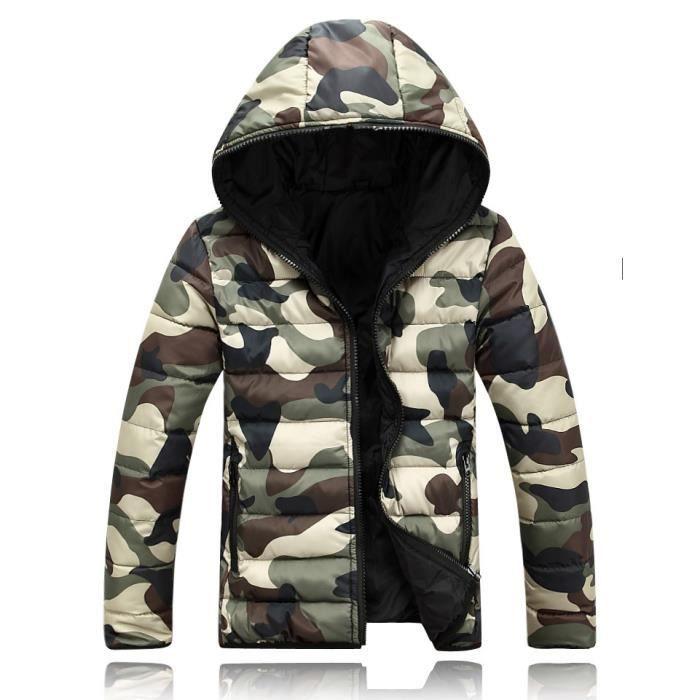 sélection premium 55548 0d1be Bleu Doudoune Homme Camouflage Pour L'hiver Cas...