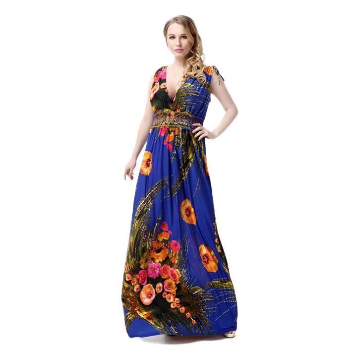 Femme Robe Eté Cool Multicolore Fleur Impression Sans ManchesAmincissant Taille Haute Longue Mince élégante Classique