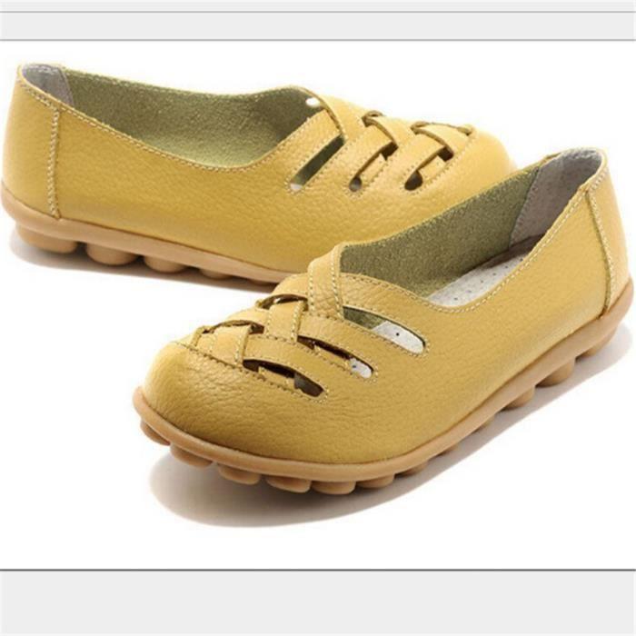 Été Nouveau Mode PU Cuir Femmes Appartements Mocassins Confortable Femme Chaussures découpes Loisirs Plat Femme Casual Chaussures