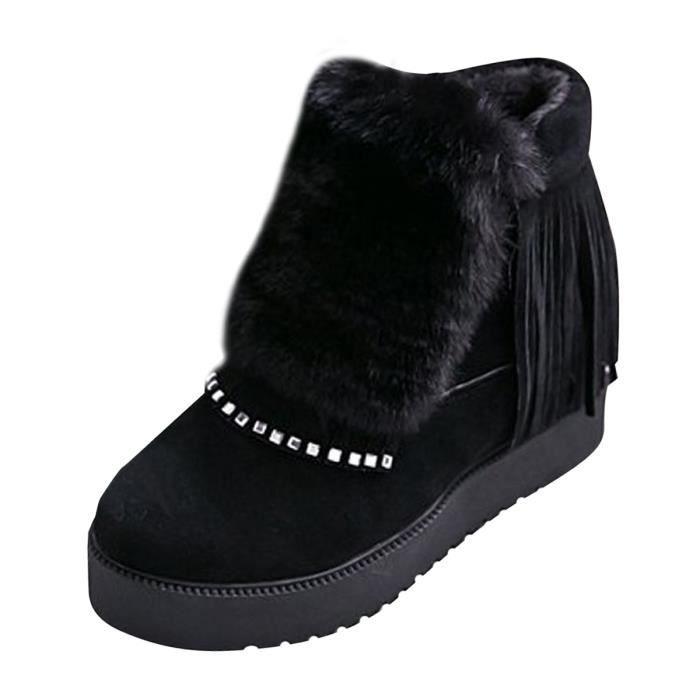Femme Boots Ankle Coton Épais de Poil Chaud en Talon Compensé