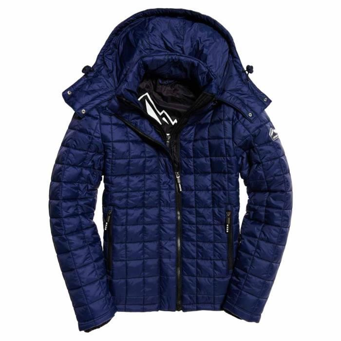 Box Superdry Quilt Vêtements Manteaux Bleu Hooded Fuji Homme Cqww8SnEt