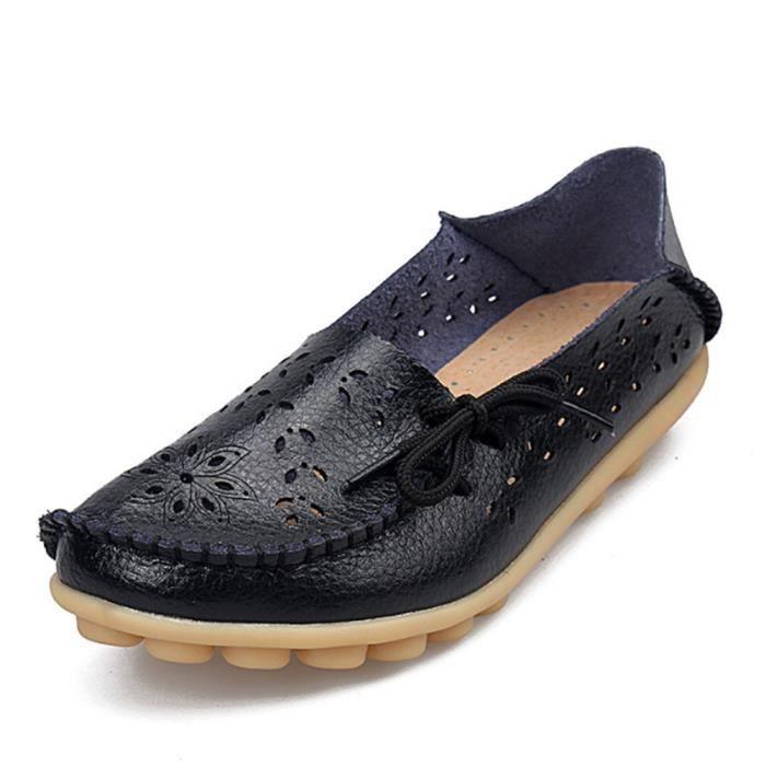 Loafer femmes Confortable Poids Léger Marque De Luxe Moccasin plates Creux-sculpté Nouvelle mode Bowknot Grande Taille 0EMegtJxlP
