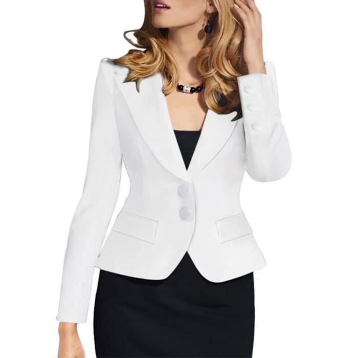 c11b892e0910cd Veste costume femme slim fit Deux boucles Manches longues blazer  Revers,blanc