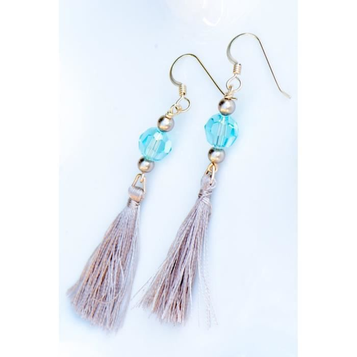 Womens Tassel Earrings With Blue Green Crystals By Swarovski And Gold Filled Earwires NUPJ2