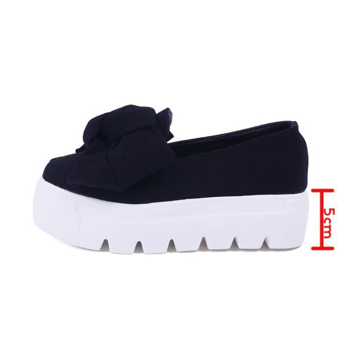 Minetom Femme Casual Bowknot Couleur Unie Slip On Platform Chaussons Wedge Loafer Mocassins Creepers Escarpins Pumps