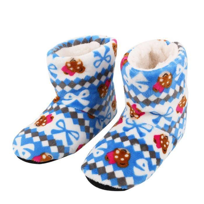 Femmes Dames Coton Chaud Pantoufles D'intérieur Doux Peluche Noël Chaussures Rose WE684 5bQyC1