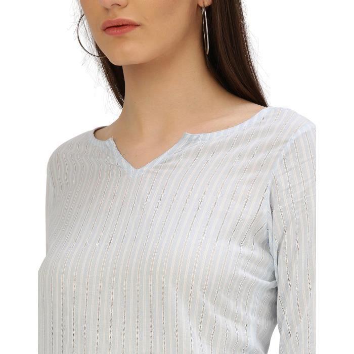 Bleu clair brodé Handloom Femmes Robe 1K0MRA Taille-34