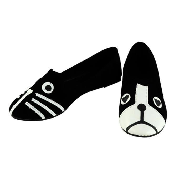 Flats chaussures mocassins femme mignonne chat chien visage talons bas confort