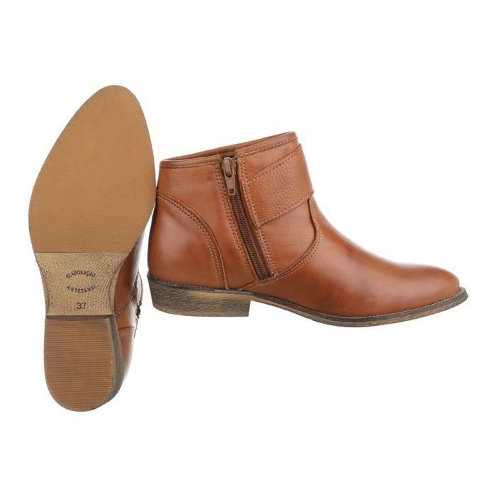 Femme chaussures bottillon cuir Chelsea Bottes Camel 40