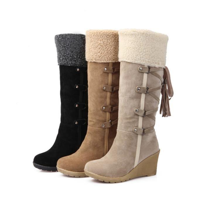 Bottes Femmes Hiver Durable Peluche Boots BJ-XZ023Noir36