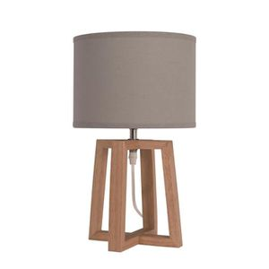LAMPE A POSER BEKER Lampe à poser en bois avec abat-jour en tiss
