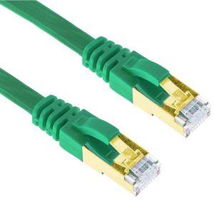 CÂBLE RÉSEAU  10m Vert Cat7 Câble Ethernet Plat Blindé RJ45 LAN