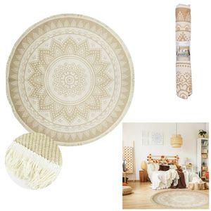 TAPIS Tapis coton 'Boho' écru blanc - 120 cm (mandala) [