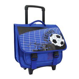 CARTABLE Cartable Trolley Scolaire Football Bleu - 40cm