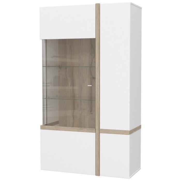 Panneaux de particules blanc et décor chêne - L 93,2 x P 41,5 x H 164,9 cm - 2 portes dont 1 vitréeVITRINE - ARGENTIER - VAISSELIER