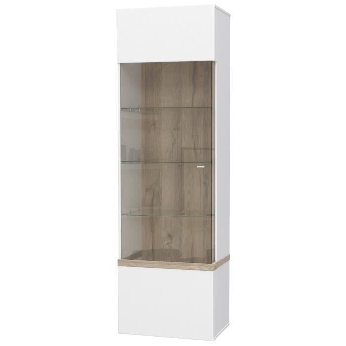 Panneaux de particules blanc et décor chêne - L 60 x P 41,5 x H 196,9 cm - 1 porte vitréeVITRINE - ARGENTIER - VAISSELIER