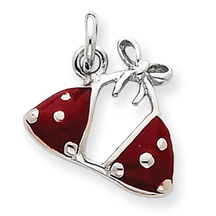 Argent 925/1000–Émail-Charm soutif de Bikini rouge
