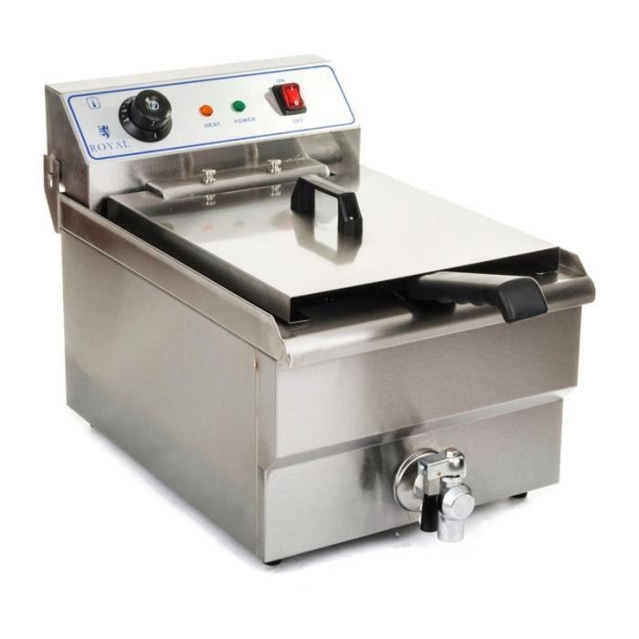Friteuse acier inox 1 bac 16 litres cuve et resistance amovible ...