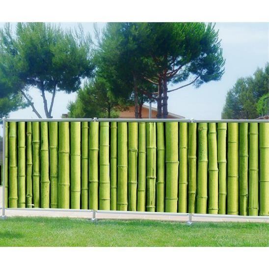 Brise Vue Imprimé Jardin Terrasse Balcon Déco Bambous Occultation 80 Dimensions 300x117cm