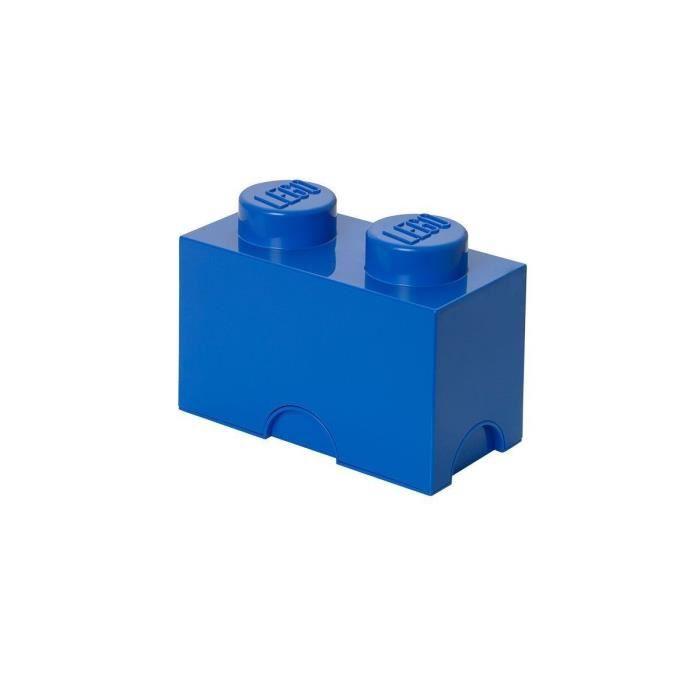 boite de rangement lego 2 plots bleu achat vente boite de rangement pvc cdiscount. Black Bedroom Furniture Sets. Home Design Ideas