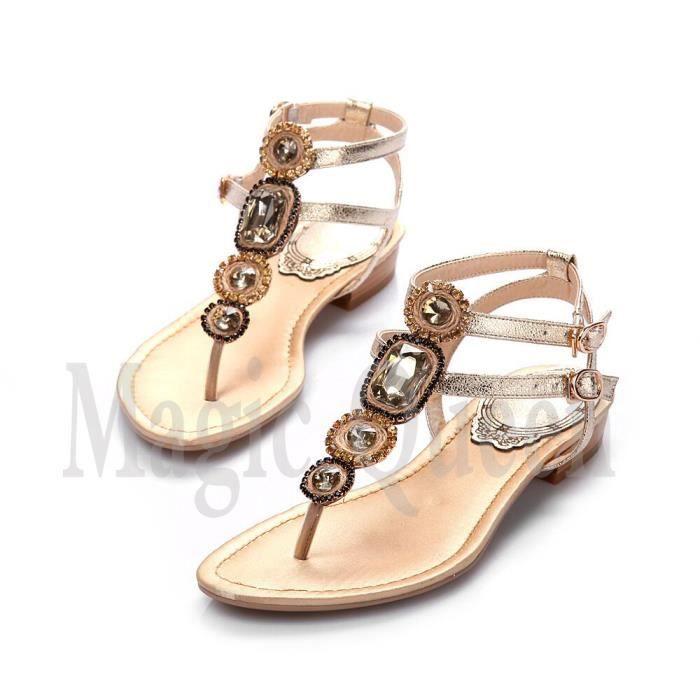 sandale femme sertie de faux diamant europe-sty...