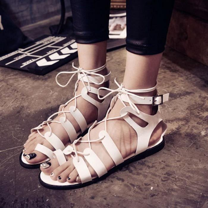 Femmes anneau orteil string lanières découpées gladiateurs sandales plates creux Boucle Chaussures à lacets a5HZp